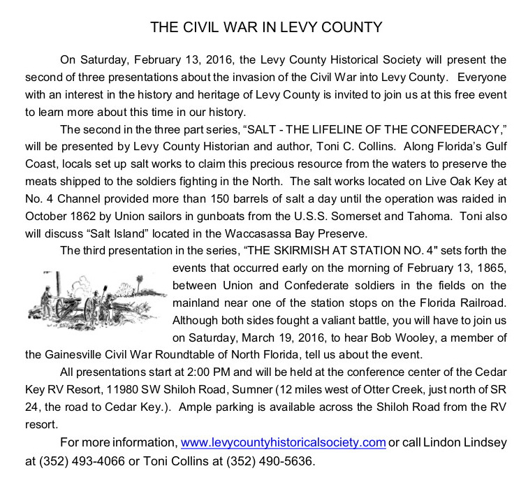 FEB 1 Civil War in Levy Co 02 13 16