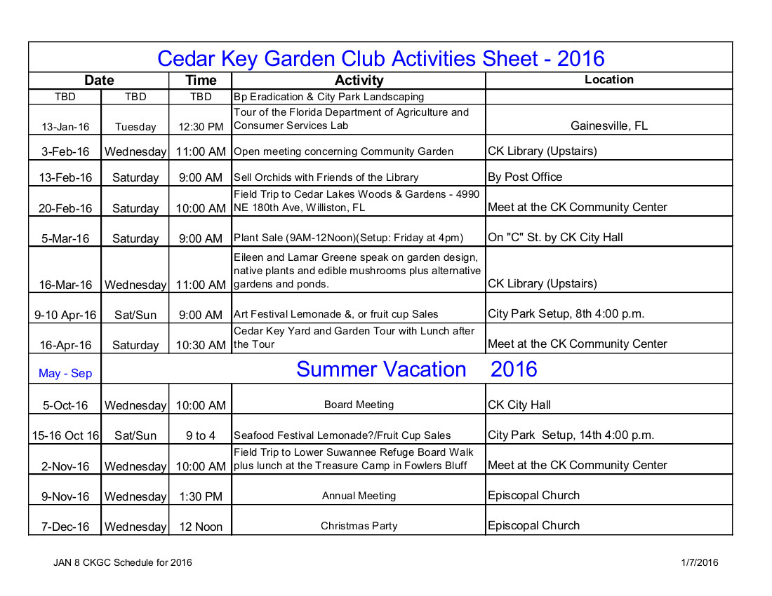 JAN 8 CKGC Schedule for 2016