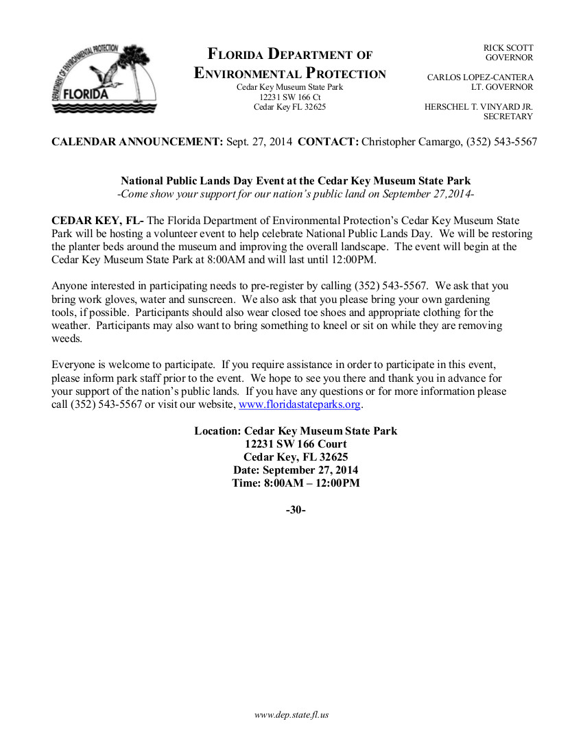 SEPT 27 Cedar Key Museum NPLD 2014 Press Release