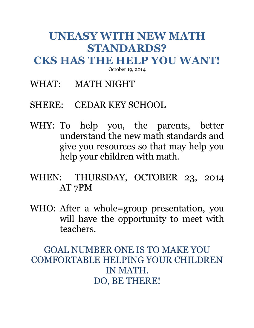 OCT 19 UNEASY WITH NEW MATH STANDARDS