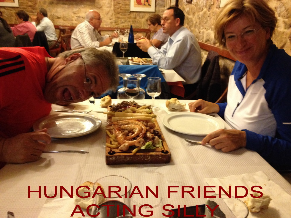 OCT 21 HALL Hungarian friends being silly at dinner