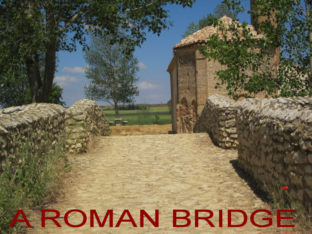 OCT 21 HALL crossing a Roman bridge to a medieval church