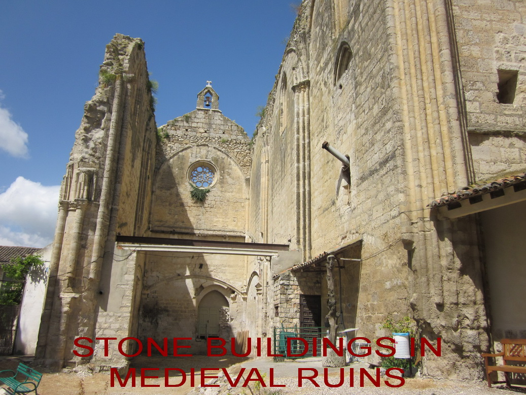 OCT 21 HALL stone buildings in medieval ruins