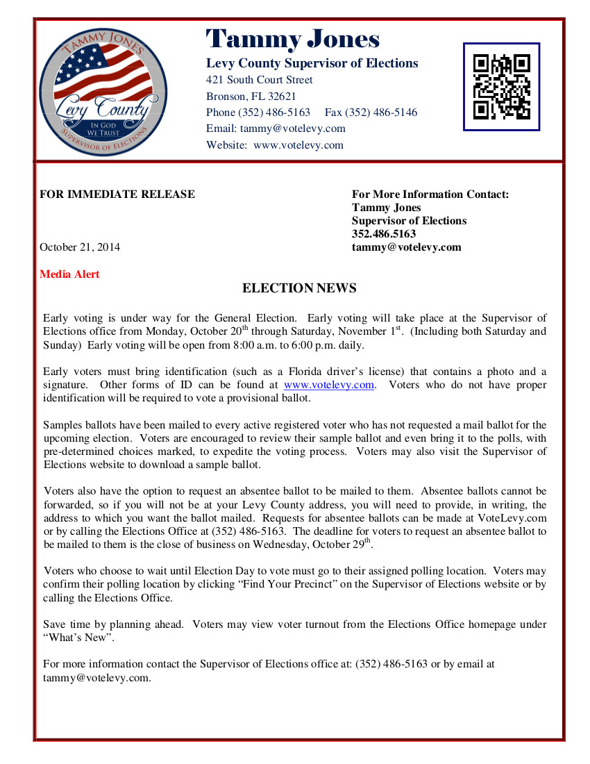 OCT 29 General Election 2014 Press Release 1