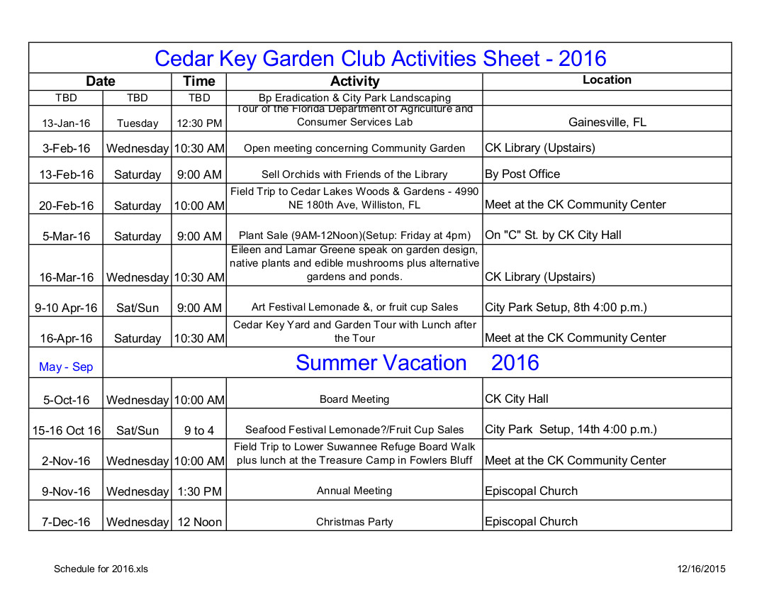 DEC 18 CKGC Schedule for 2016