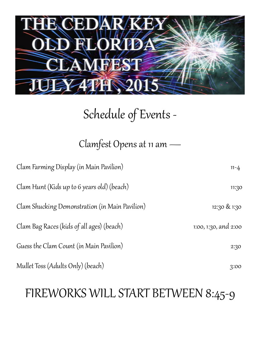 JUL 2 CKCC FIREWORKS Schedule of Events