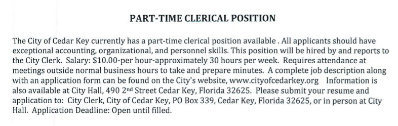 MAR 31 City Ad Clerical Part-TIme