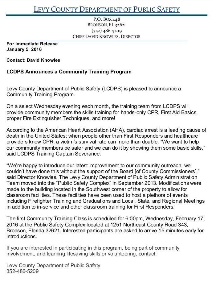 JAN 10 LEVY CO TRNG PROG