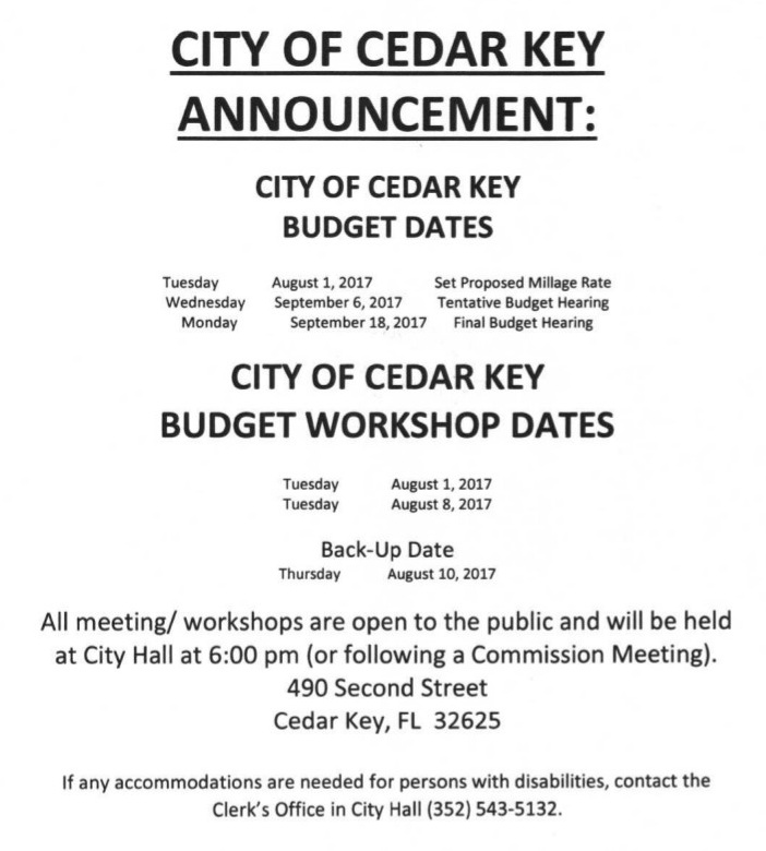 AUG 4 UPDATE CITY Budget Dates 2017 18
