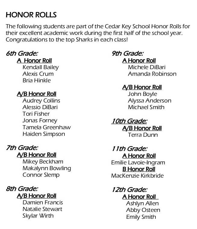 SharkNews23jan HonorRoll xc